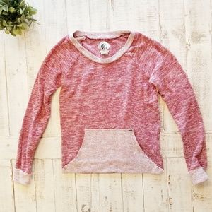Volcom Red Pullover Pocket Front Knit Sweater